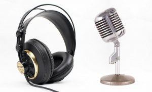 Podcast headphones and microphone
